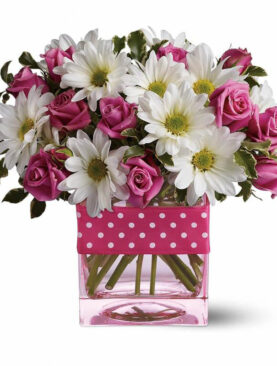 Pink Roses & Gerberas in a Glass Vase
