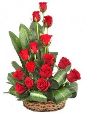 Floralbay Special Basket Arrangement of 15 Red Roses Fresh Flowers