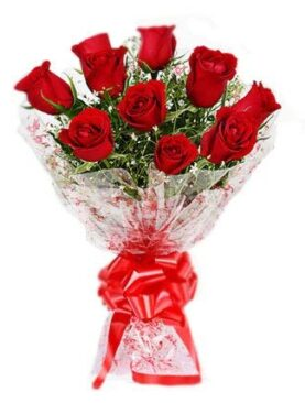 Floralbay Red Roses Bouquet Fresh Flowers in Cellophane Wrapping (Bunch of 12)